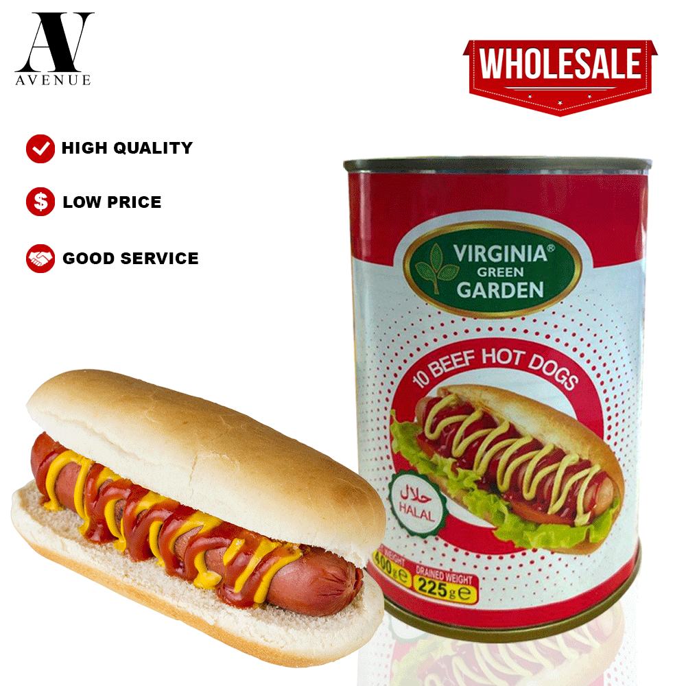 Virginia Green Garden 10 Beef Hot Dogs ( Sausage ) 400g Halal هوت دوغ باللحم البقري
