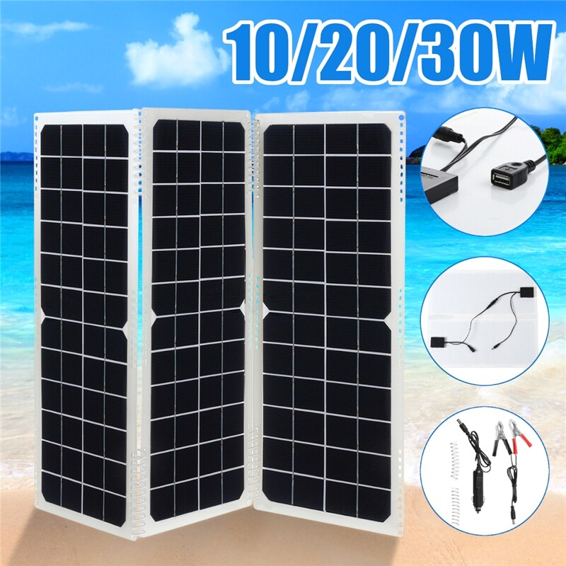 DIY Tools - 10W DIY Foldable Solar Panel Camping Cycling Traveling+DC To USB Line - Home Improvement