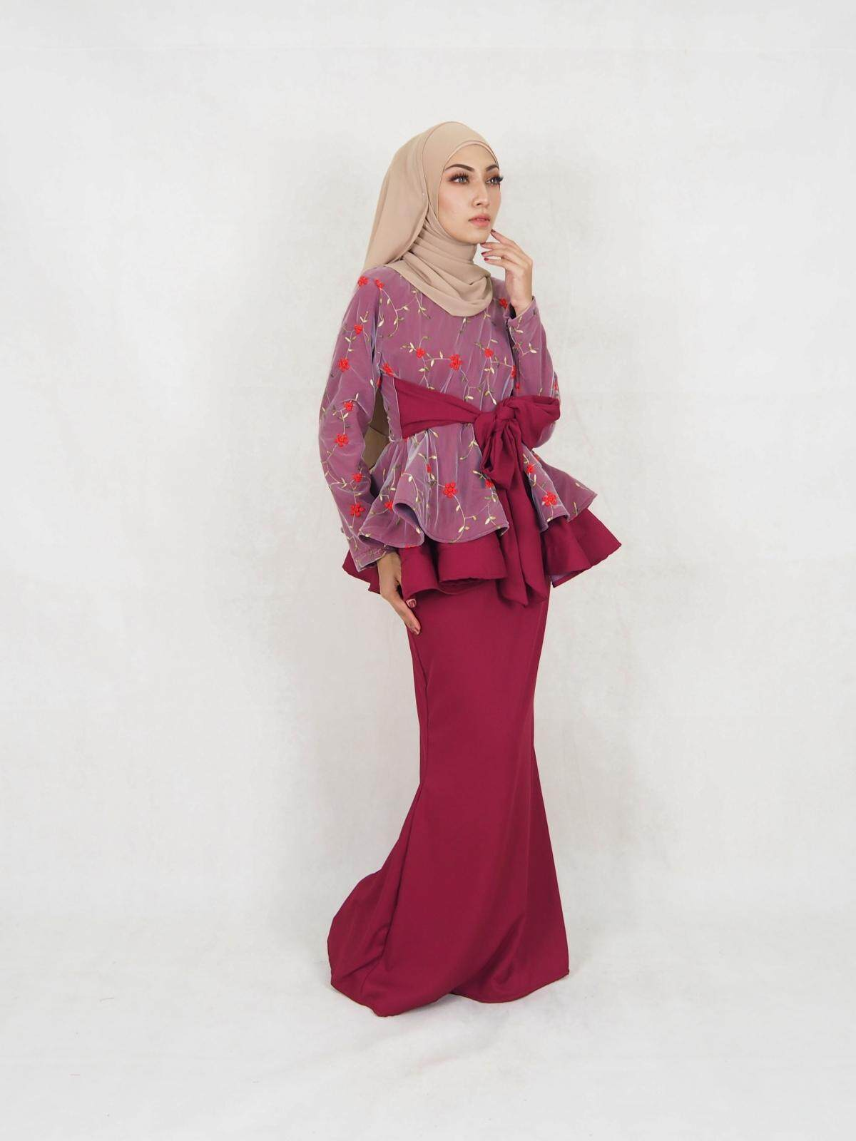 Anisa Peplum Rose Net Baju Kurung / Muslimah Rose Net Baju Kurung / Muslim Women Fashion Net Baju Kurung (XXS-XL) / Nikah Baju Kurung / Moden Baju Kurng 2020 / Murah / Ship from Malaysia / Hot Product