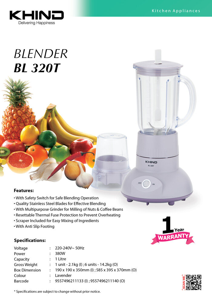 Khind 1.0L Blender With Dry Mill BL320T Blender Buah