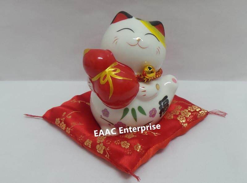 Ceramic Quality 4  Lucky Fortune Cat Saving Box Bank + Red Cushion