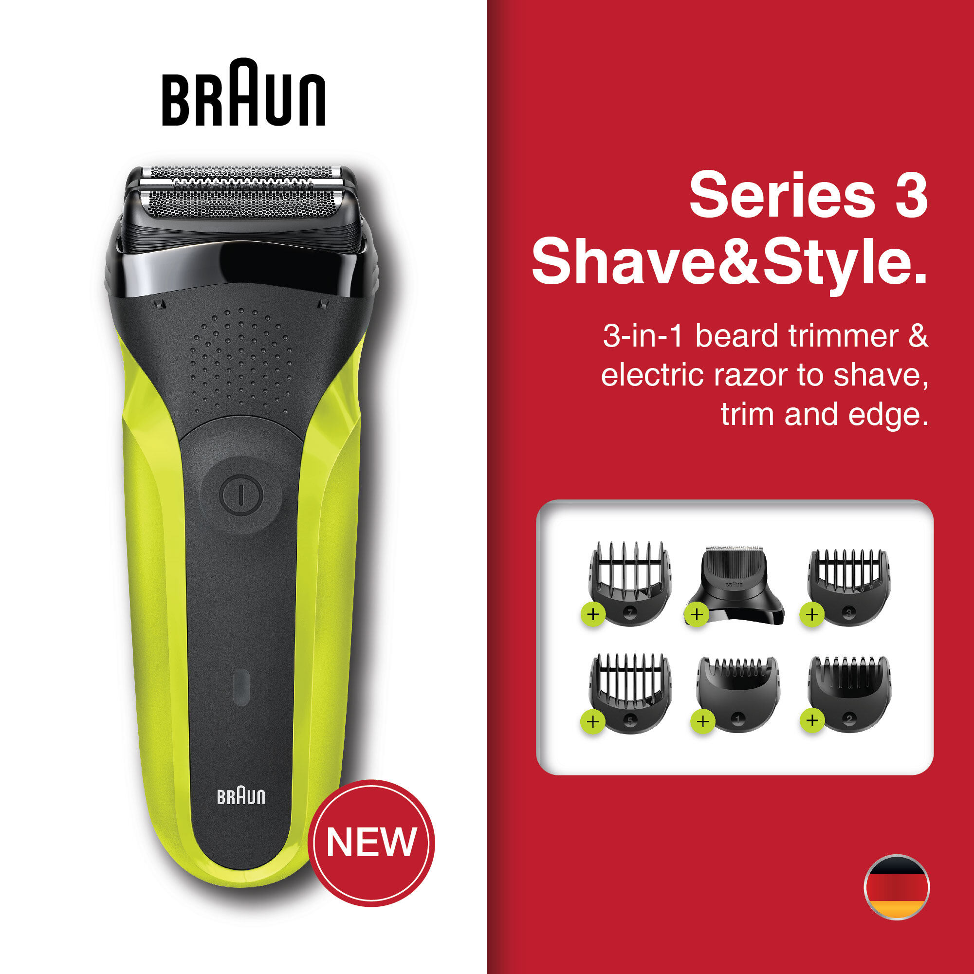 Braun Series 3 Shave&Style 300BT shaver with trimmer head and 5 combs, green.