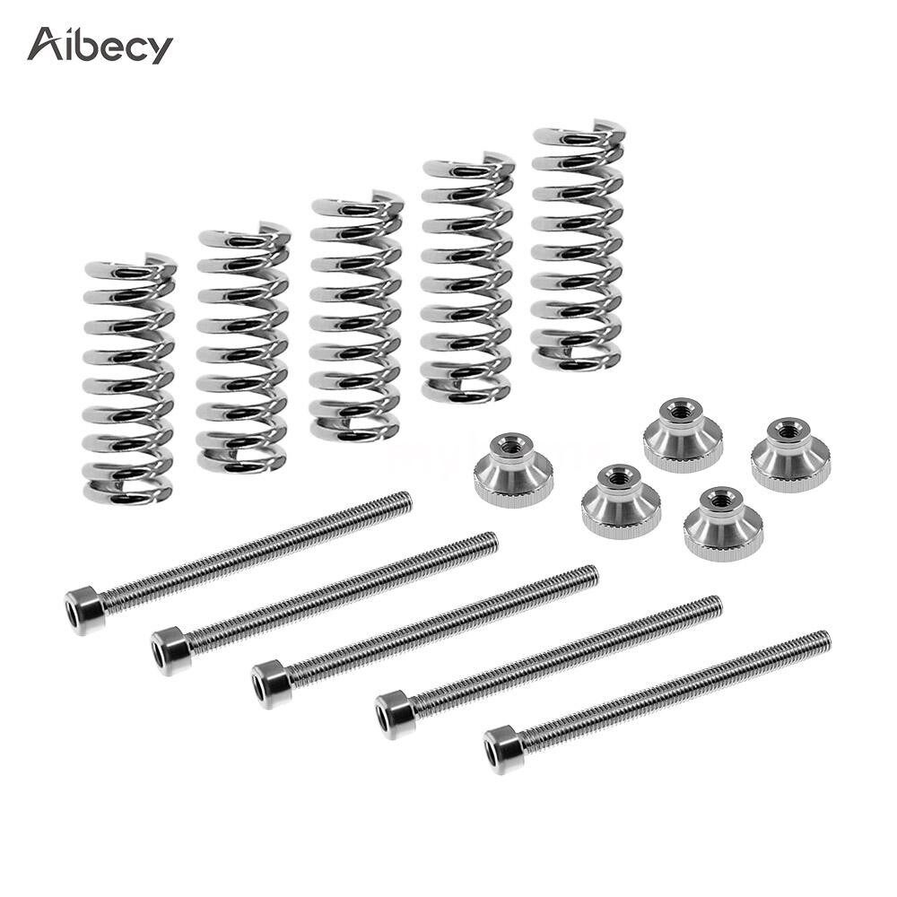 Printers & Projectors - M3 Screw Leveling Spring Knob Suite Leveling Component for 3D Printer Bed/Platform - CHROME-PACK OF 5 SET