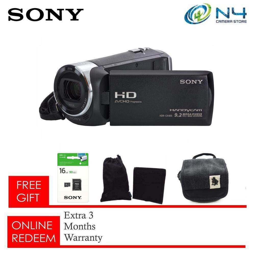 Sony HDR-CX405 Video Camera HandyCam (BLACK) + Micro 16gb + Microfiber Case & Cloth + Camera Bag (Original Sony Warranty)