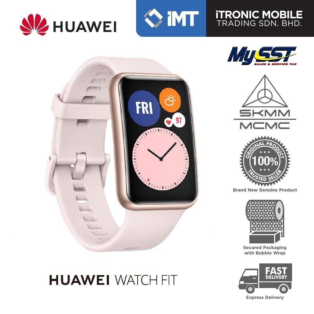 [MY] Huawei Watch Fit Smartwatch - Black/Pink - Original Malaysia Set