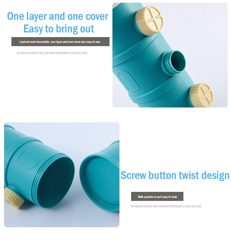 Multi Layer Baby Milk Powder Container + Trumpet (Sea Blue / Light Pink )