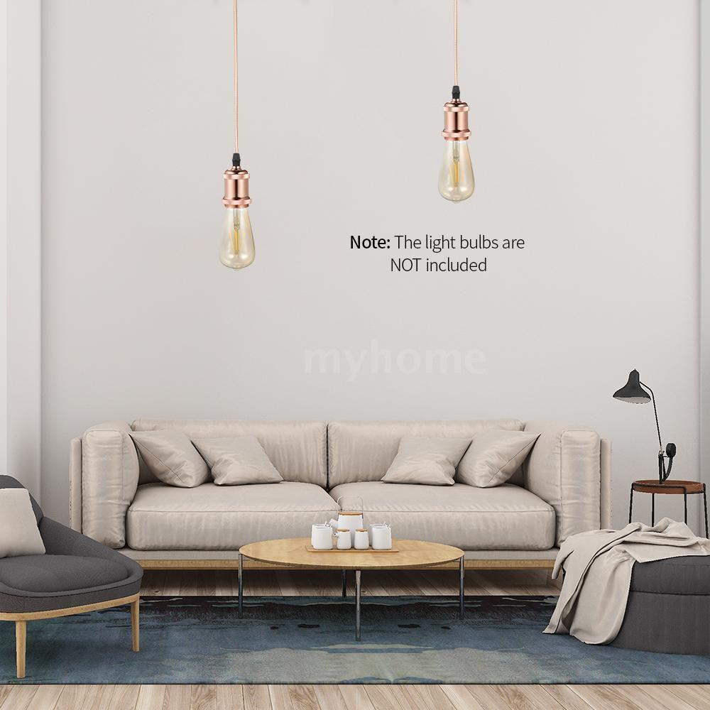 Lighting - Vintage Pendant Light Retro Hanging E26/E27 Aluminum Lamp Holder + Textile Cord + Iron Base Ceiling - #