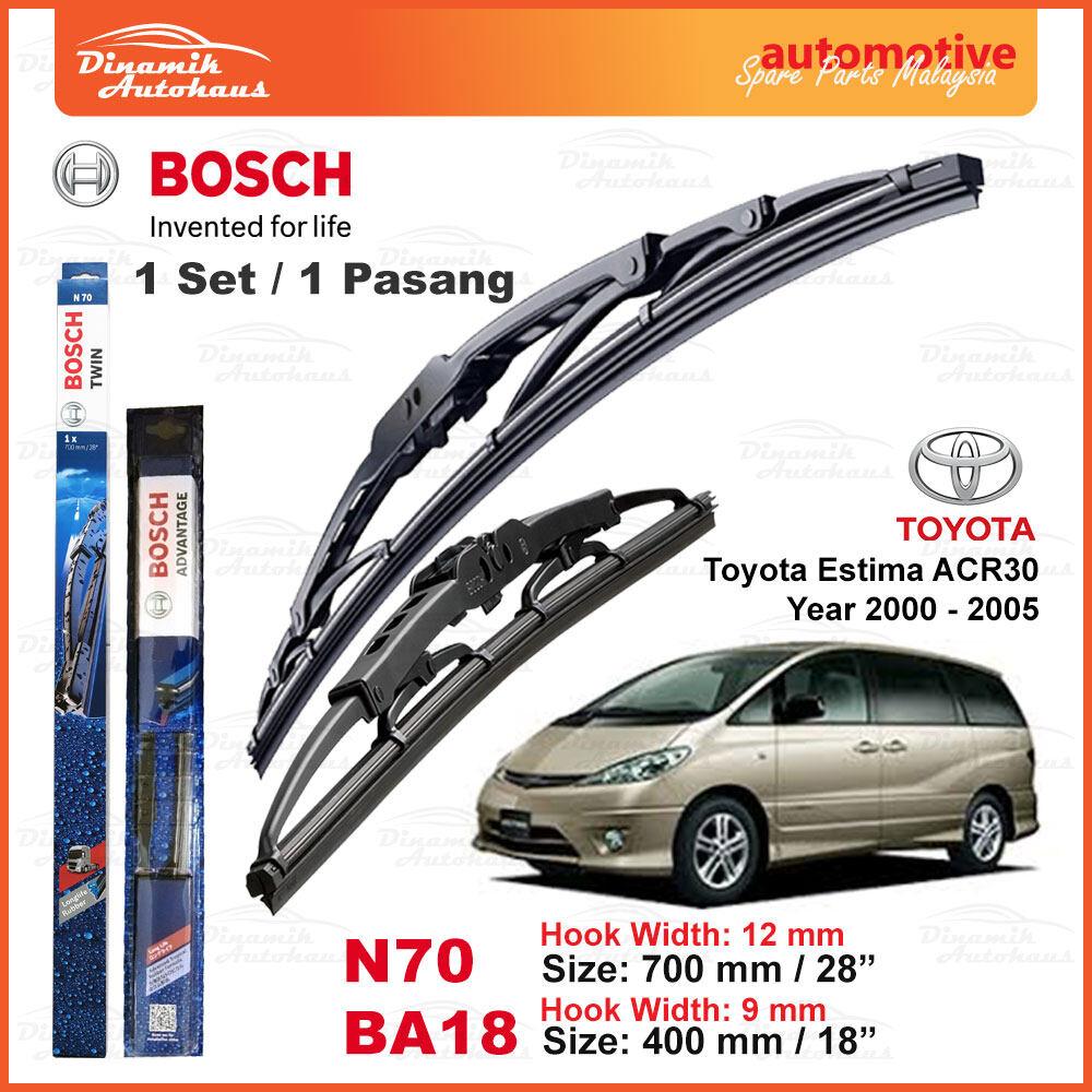 Toyota Estima Car Model ACR30 Year 2000 To 2005 Windshield U Hook Wiper Blade 28 Inch & 18 Inch Bosch Advantage N70BA18