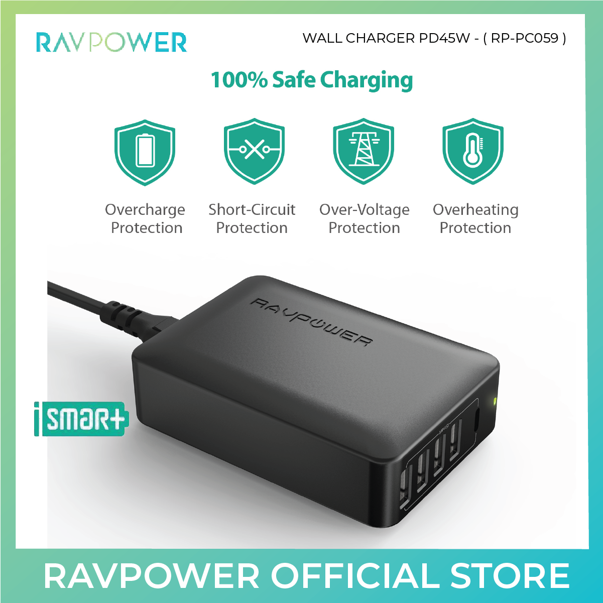 RAVPower 60W USB C Power Delivery Wall Charger