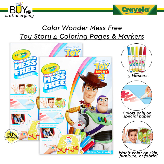 Crayola Color Wonder Mess Free Toy Story 4 Coloring Pages & Markers - (SET)
