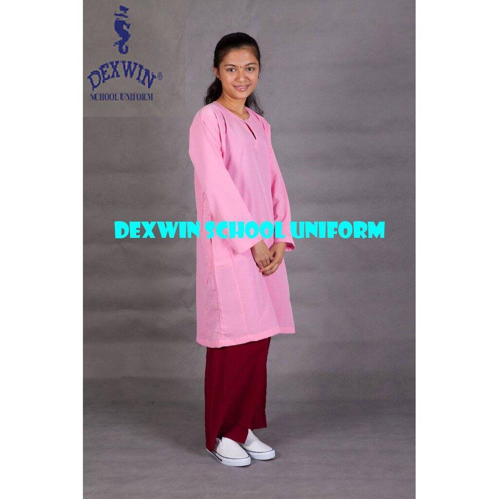 baju kurung pink pengawas kain licin koshibo