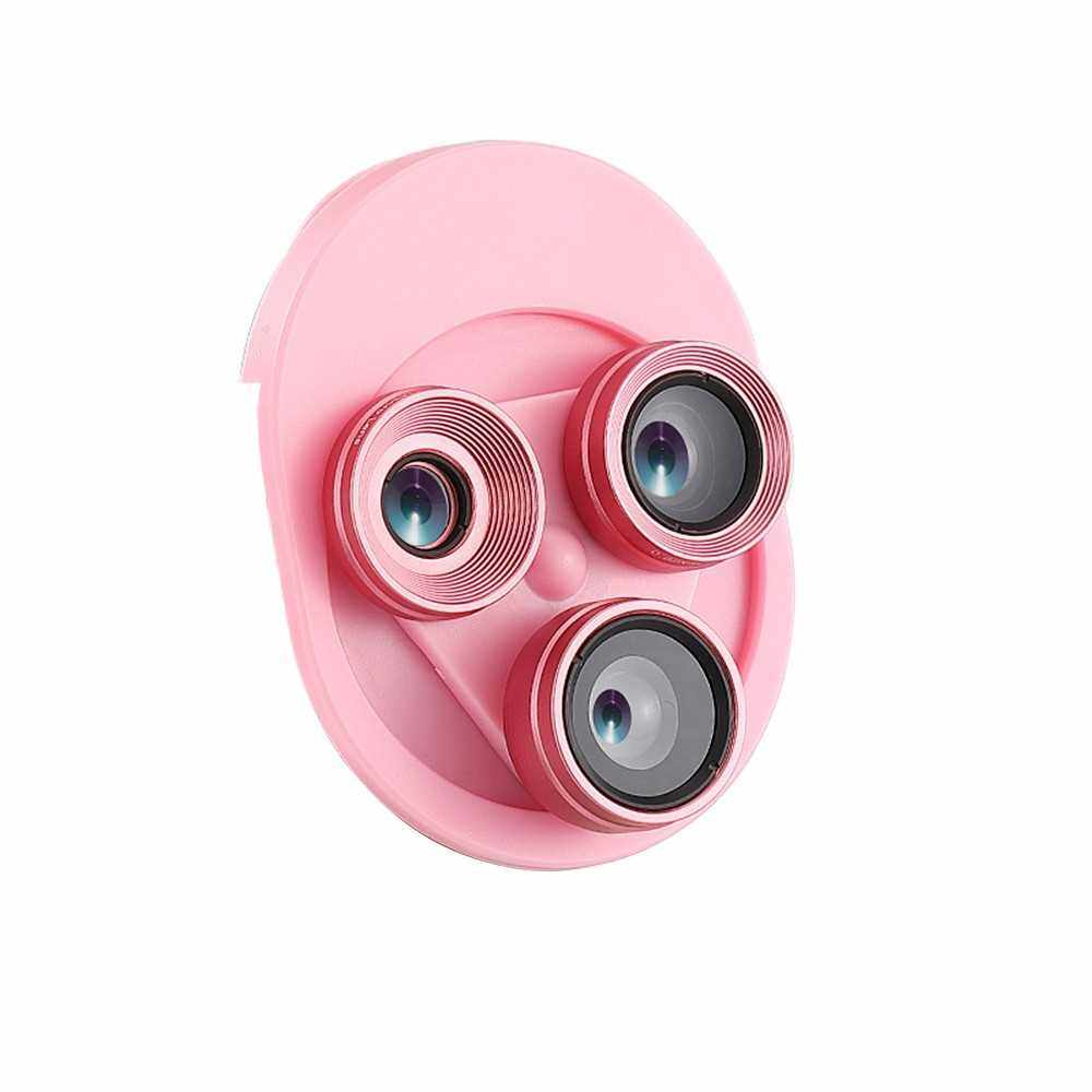 Best Selling Universal Mobile Phone Tablet 0.62X HD Super Wide Angle Lens 20X Macro 198 Degree Fisheye 3 in 1 Set with Clip 360 Degree Free Rotation No Distortion Pink (Pink)