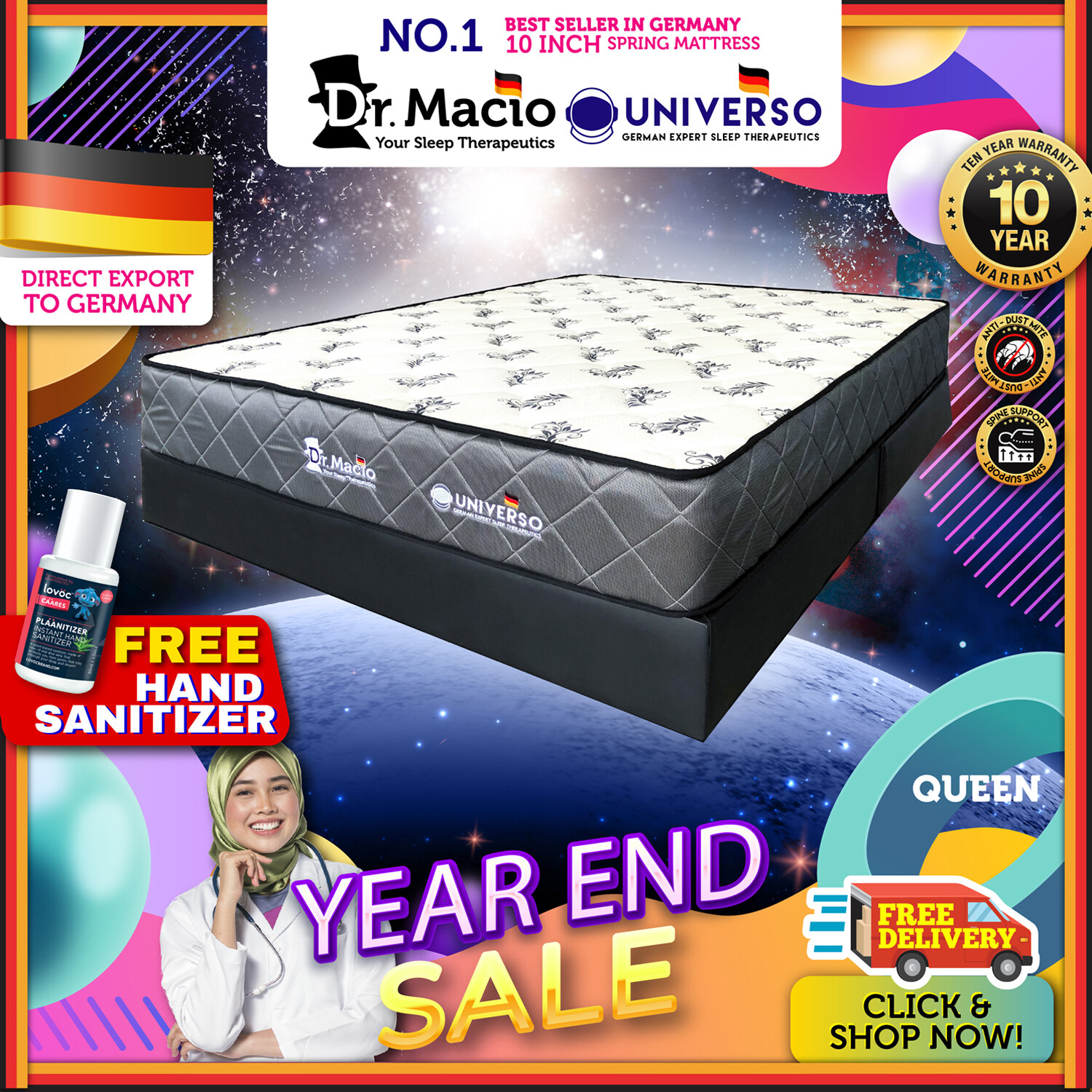 [ Free Shipping ] Dr Macio Universo (Single) (Super Single) (Queen) (King) Mattress Ready Stock / Tilam Dr Macio 10 years warranty anti dustmite FREE gift [ Fast Delivery ] [ Deliver in CMCO ]