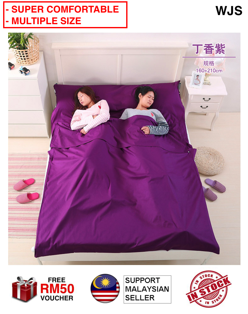 (SUPER COMFORTABLE) WJS Extra Large Travel Bed Sheet Sleeping Bag Adult Ultra-Light Portable Inner Wearing Double Single Bed Sheet Clean Freak Hygienic Sheet Extra Layer MULTICOLOR [FREE RM 50 VOUCHER]