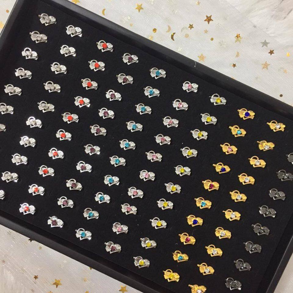 (SD214) 100PCS KOREA BABY BROOCH / KERONGSANG SINGLE DIAMOND [SILVER, GOLD, BLACK] TYPES 7