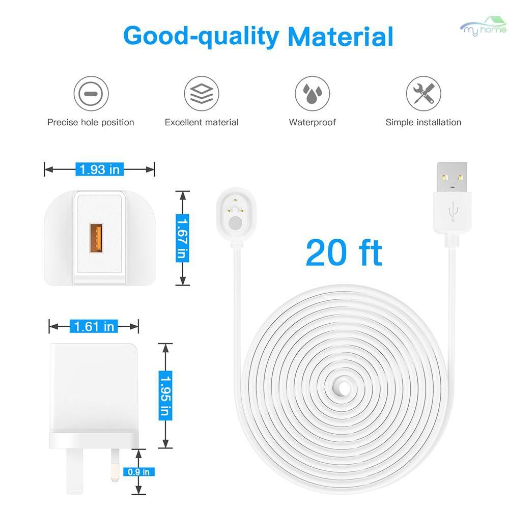 Monitors - Power Cord for Arlo ULTRA 4K UHD Magnetic Chanrging Cable Waterproof Charger With UK Plug for - WHITE-9M / WHITE-6M