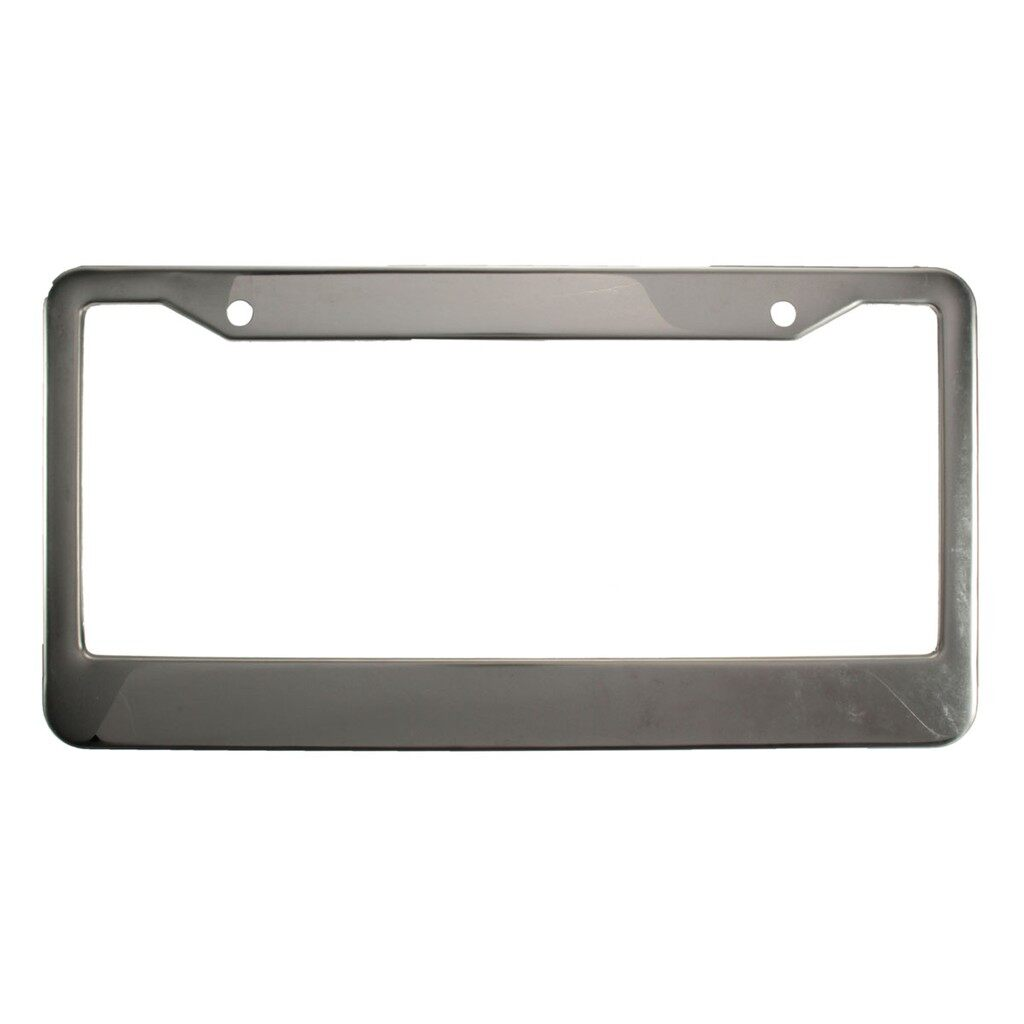 Tyres & Wheels - 2 PIECE(s) Sliver Metal Stainless Steel License Plate Frames With Screw Caps Tag Cove - Car Replacement Parts