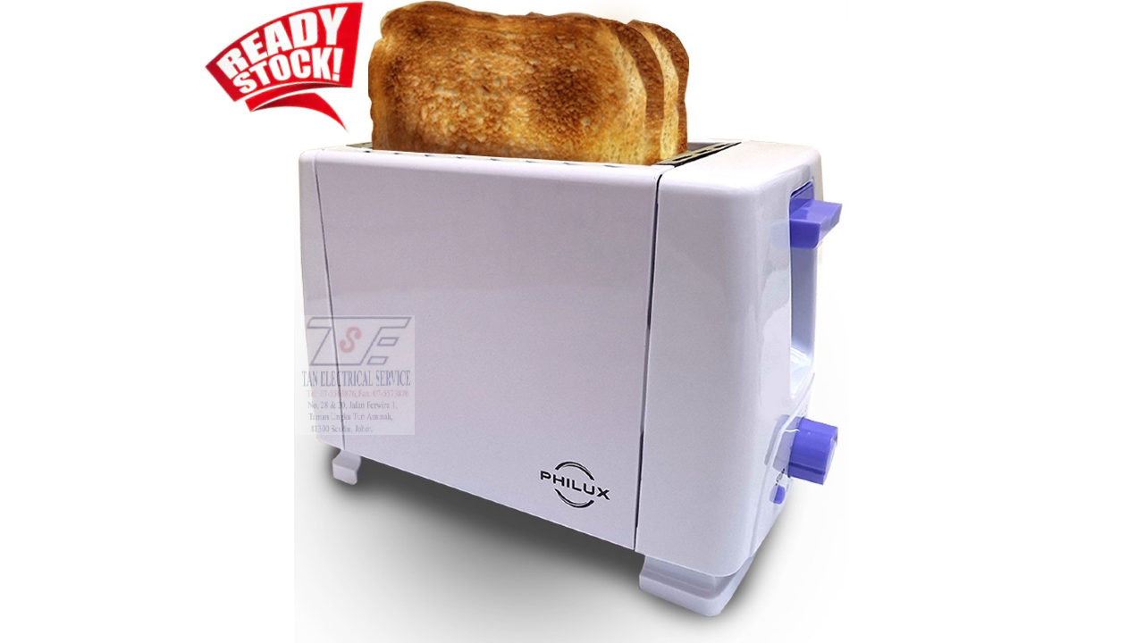 [READY STOCK] PHILUX Toaster 2 Slices Bread Auto Pop Up with Metal Body PL-02