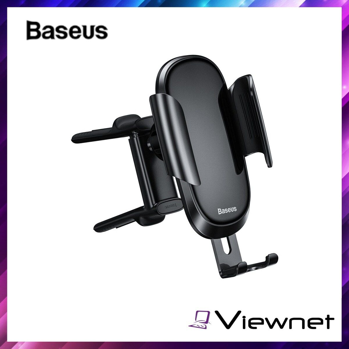 Baseus Future Series Glass Surface Gravity Car Air Vent Mount Holder (SUYL-BWL01), Applicable to Round Air Outlet, 360 Degree Rotation, Aviation Aluminum alloy, Compatible 4.8-6.5 Inch