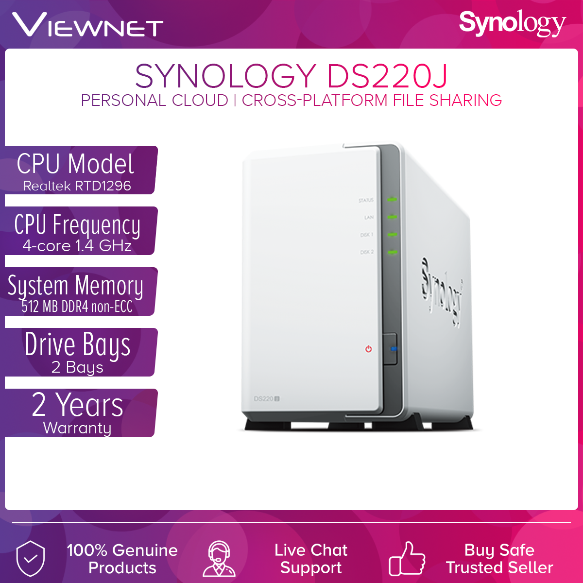 Synology DS220j 2-Bays NAS DiskStation External Hard Drive Entry-level Personal Cloud Solution for Data Sharing and Backup