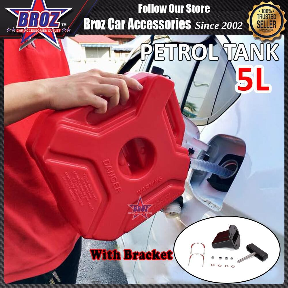 Broz 5L Fuel Tank Cans Spare Plastic Petrol Motorcycle Gas Gasoline Oil Container ( With Bracket )