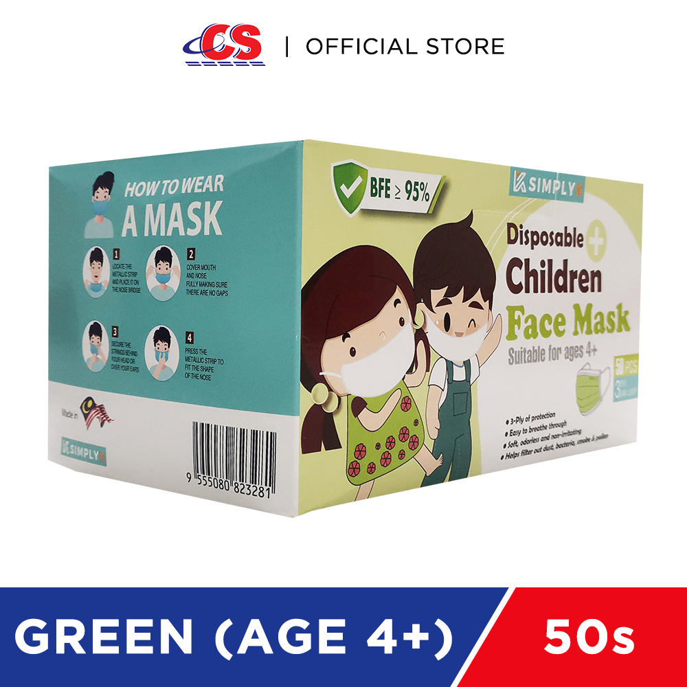 SIMPLY K 3PLY Ear Loop Child Face Mask Green 50s