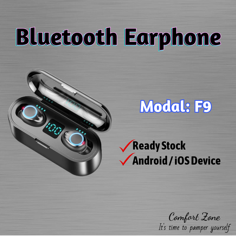 (Ready Stock) F9 Bluetooth 5.0 Upgrade Bluetooth Earphones LED Display Wireless Earbuds Touch Control Headset Airpods
