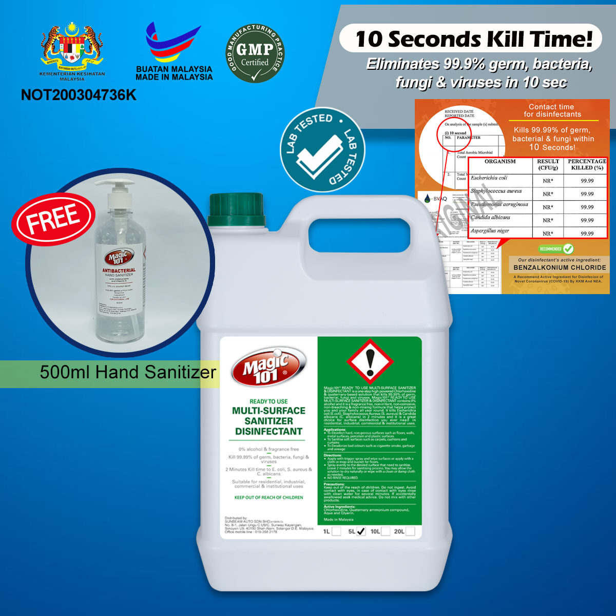 IPA / Alcohol-Free Magic101 Anti-Bacterial Multi Hard Surface Sanitizer Disinfectant Cleaner (READY TO USE) 5 Liter FREE Hand Sanitizer 500ml