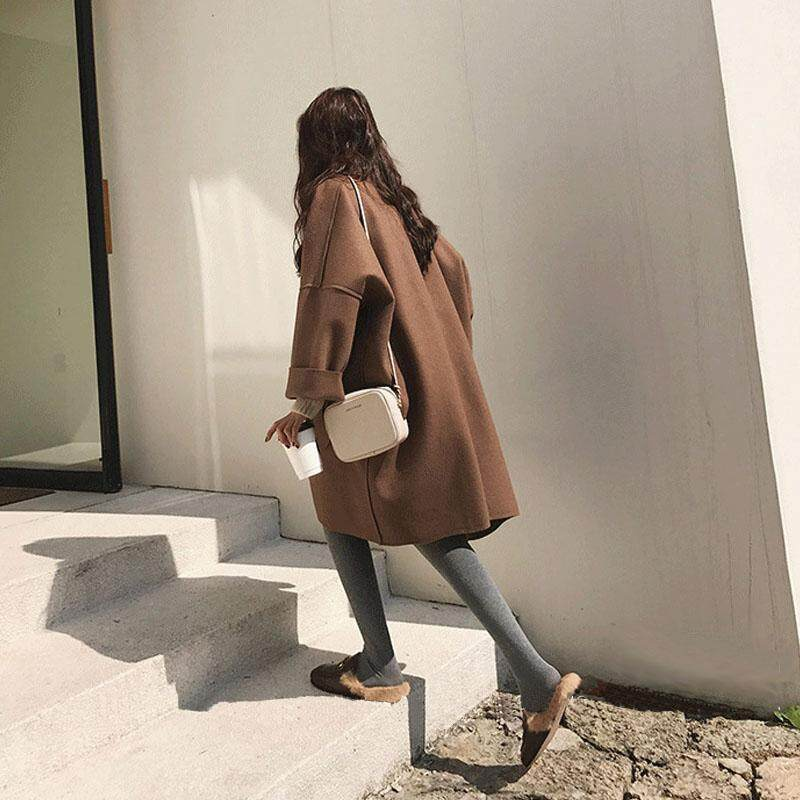 (PRE ORDER) WOMEN LOOSE SILHOUETTE WOOLEN COAT WITH LARGE SIZE