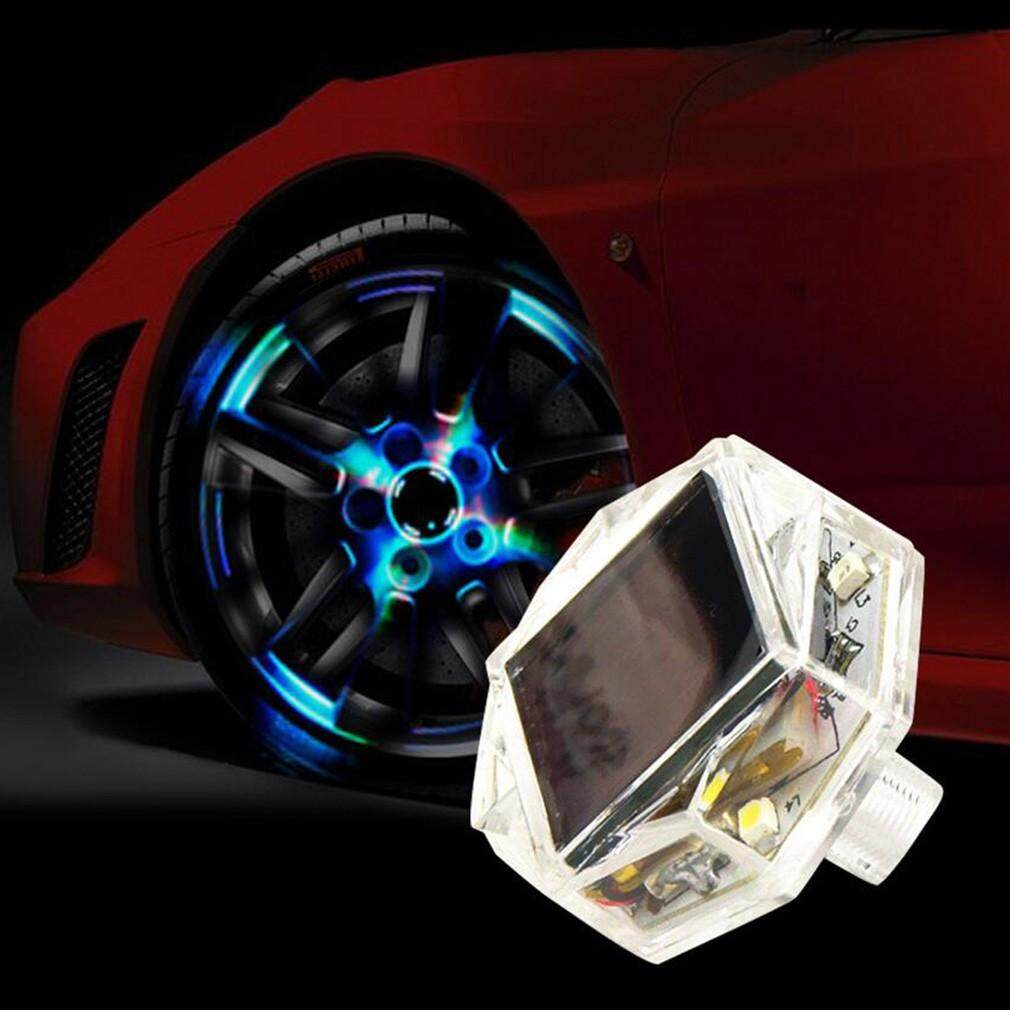 Engine Parts - LED Solar Car Wheel Signal Tire Air Valve Cap Decor Lamp - Car Replacement