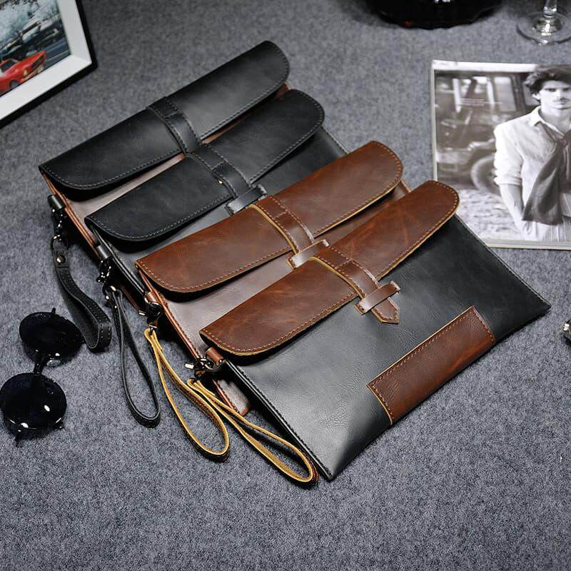 [M\'sia warehouse Direct] 2020 Korean Series Men\'s Leather Handcarry Bag With String Fengshui Clutch Bag Can Fit Iphone Any Android Mobile Long Purse Perfect Gift For Love One Multifunctional Portable Bag Card Holder Dompet Panjang Kulit Dompet Halal