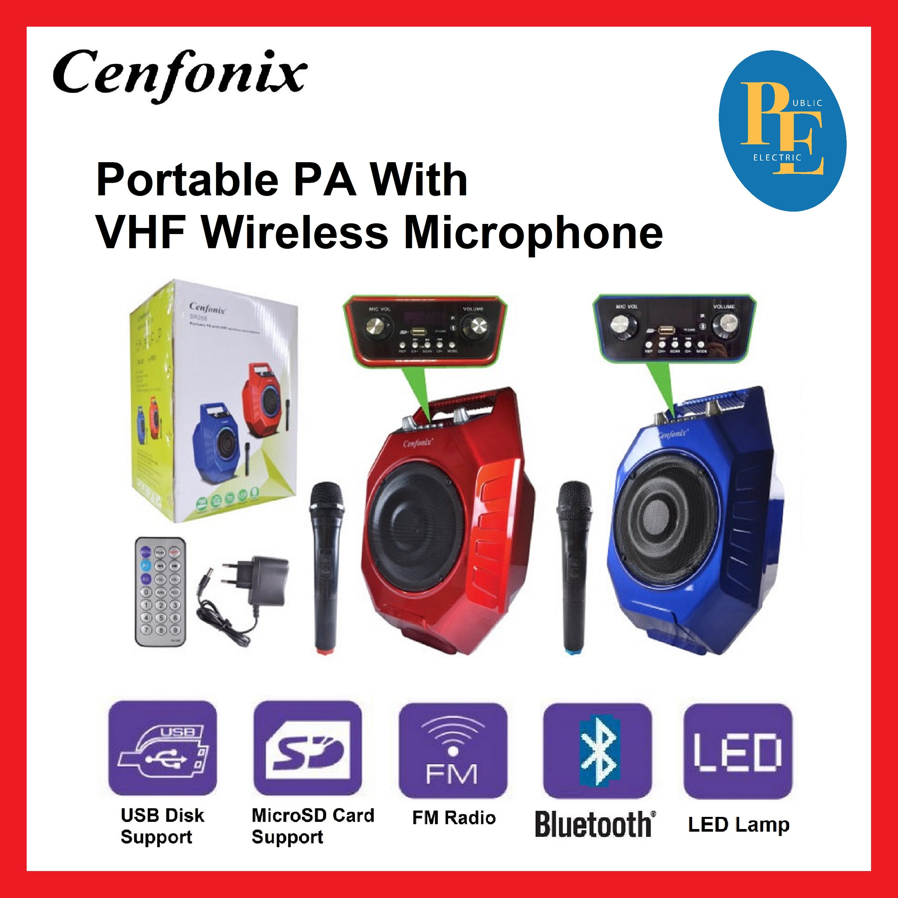 Cenfonix ( Random Color ) Portable PA With VHF Wireless Microphone - PAPRCX-SR268 ( Random Color )