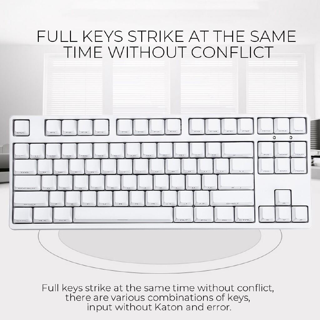 Keyboards - White PLUS2 87Keys Gateron Switch RGB USB Wired Mechanical Gaming Keyboard PBT Keycaps - RED SWITCH / CYAN SWITCH / BLACK SWITCH / TEA SWITCH