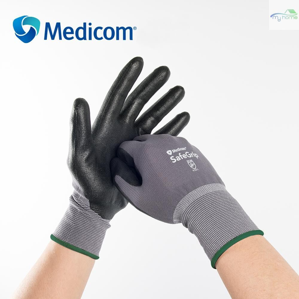 Protective Clothing & Equipment - Medicom 1152 Safety Glove Nylon With Nitrile Coated Working Gloves Abrasion-proof for Gardening - GRAY & BLACK-XL / GRAY & BLACK-L / GRAY & BLACK-M
