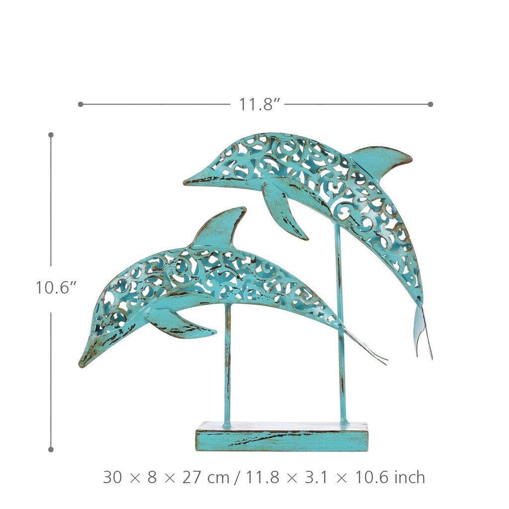 Home Decor - Two Blue Dolphins Iron Handmade Statue Design Statue Ornament Marine Life Retro - #
