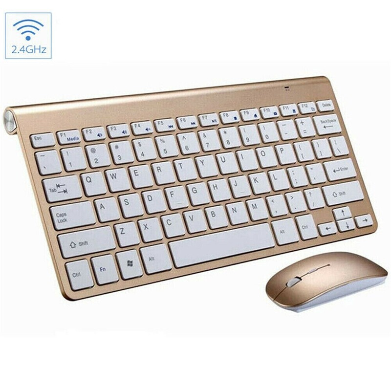 Keyboards - For Mac Apple PC Computer Waterproof 2.4G ULTRA Thin WIRELESS Keyboard And Mouse SET - W202BLACK / W202SILVER / W202GOLD