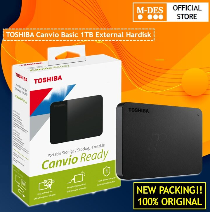 Toshiba Canvio Basics 1TB USB 3.0 Portable External Hard Disk Drive - Black 1 TB HDD EXTERNAL HARDISK