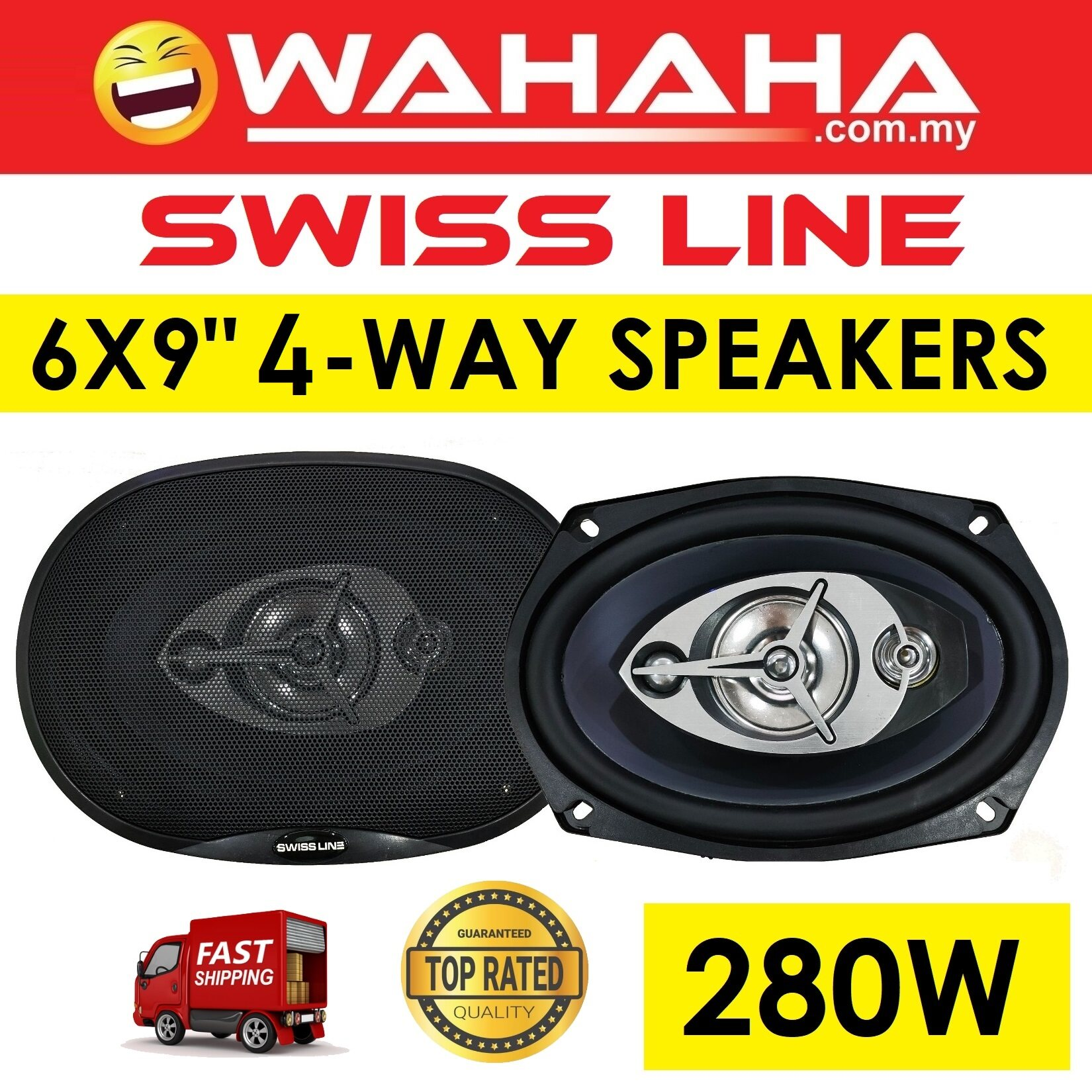 "Swiss Line S-69 6x9 4-Way Car Speakers 280W Suitable for 6x9"" Type of Car"