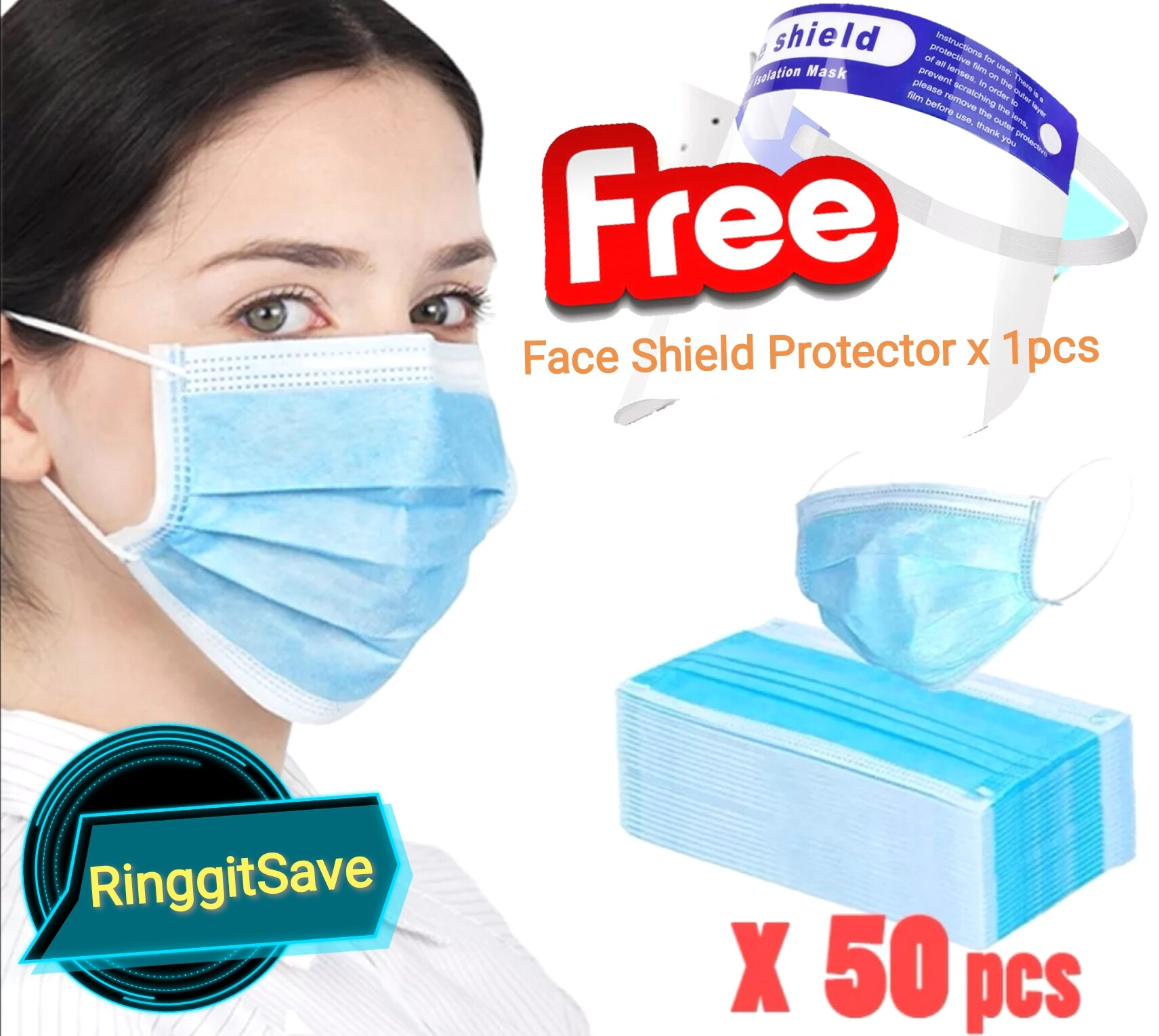 (Ready Stock)50 Pcs Disposable Face Mask 3ply Mouth Mask 3 Layer Ply Filter Mask Non-Woven Mouth Face Mask With Gift