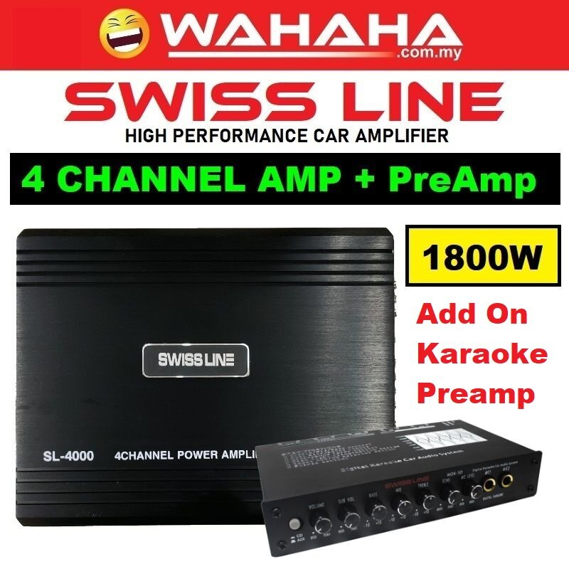 SWISS LINE SL-4000 Car Amplifier 4-CH Channel 1800W + Car Audio Pre-Amp 4Band / 5Band / 7Band