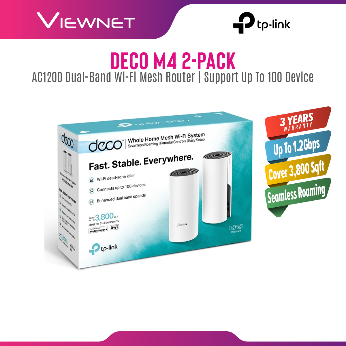 [Fast Shipment🚀] TP-Link Deco M4 (2-Pack) AC1200 Gigabit Whole Home Mesh WiFi Wireless Router Wi-Fi System