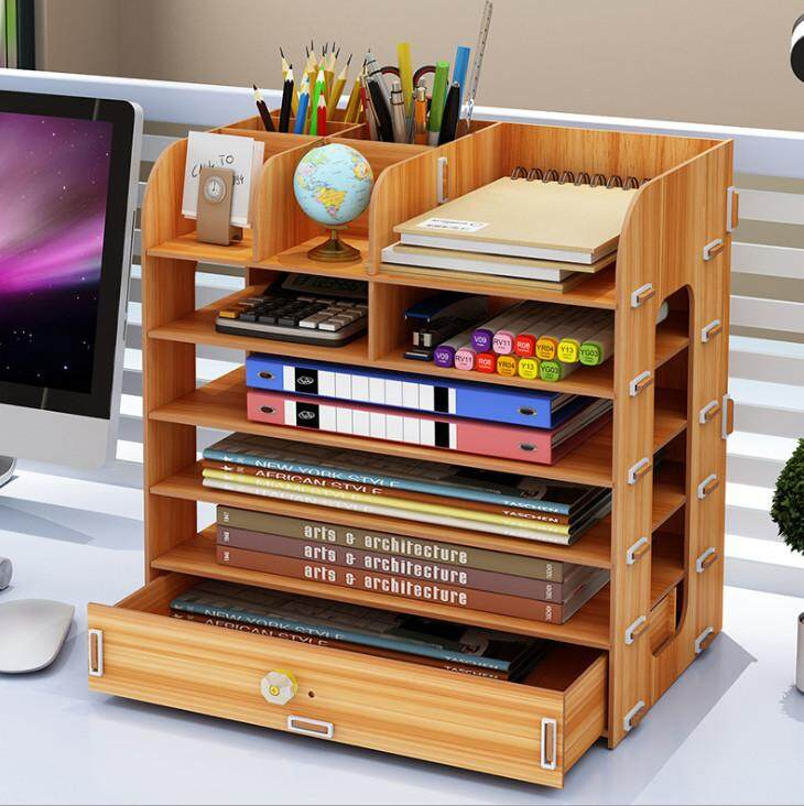 DIY Wooden Desk Organizer Office Storage Box with Tissue Box and drawer