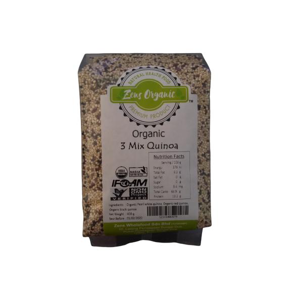 Zens Organic Raw Mix Quinoa (Pearl White Quinoa / Brown Quinoa / Black Quinoa) 400g