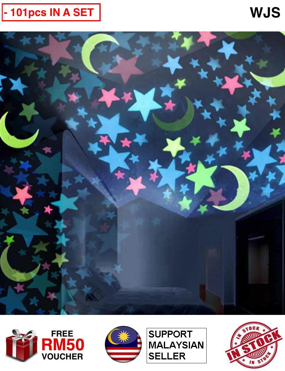 (101pcs IN A SET) WJS Glow in the Dark 100pcs Stars + 1pcs Moon Star Plastic Stickers Baby Toddler Kids Ceiling Bedroom Wall Glow in the Dark Stars Sky NEON GREEN PINK YELLOW WHITE MULTICOLOR (FREE RM 50 VOUCHER)