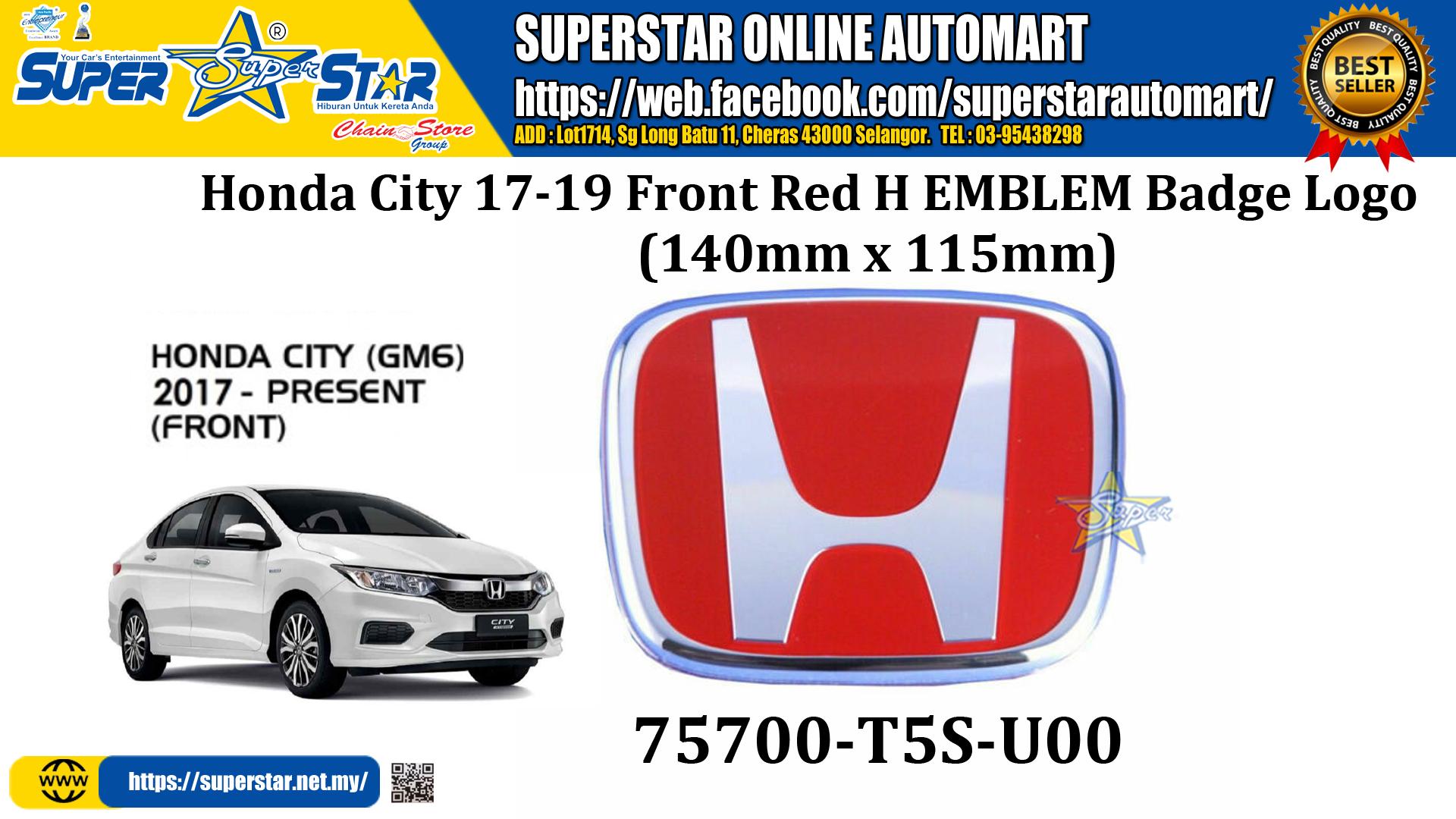 Honda City 17-19 Front Red H EMBLEM Badge Logo 75700-T5S-U00 (140mm x 115mm)