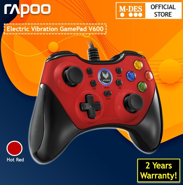 RapooV600Wired Gaming ControllerElectricVibrationGamepad (Red / Black) [2 Years Warranty]