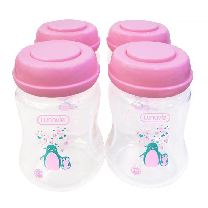 LUNAVIE WIDE NECK BREASTMILK STORAGE BOTTLES *6OZ* (4 BTLS) - PINK