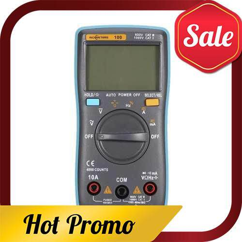 RICHMETERS RM100 True RMS Multifunctional LCD Digital Multimeter DMM DC AC Voltage Current Resistance Diode Continuity Capacitance Frequency Duty Tester Measurement Automatic Polarity Identification Ammeter Voltmeter Ohm (Standard)