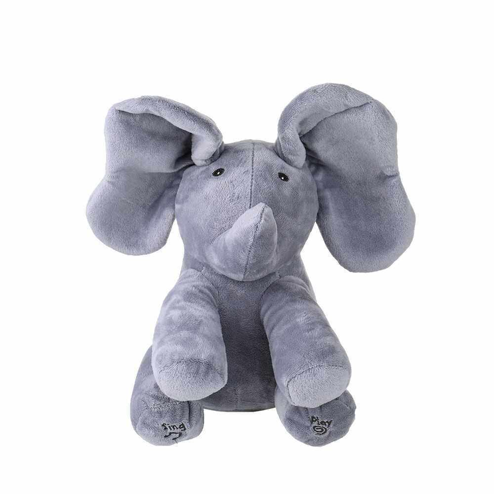 Electric Adorable Small Elephant Animated Flappy Push Doll Kids Present (Gray)