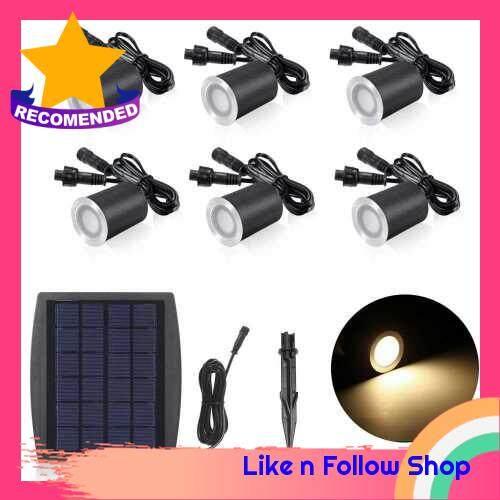 3.2V 0.2W 6PCS Solar Deck Lights IP65 Waterproof Solar Garden Light Sensing Garden Paths Underground Lamp LED Floor Light Warm White (Warm White)